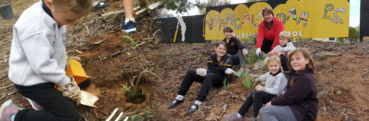 Helen from Bunnings and all students sitting in front of the Wyangala Dam Public School sign, after planting new plants donated by Bunnings.